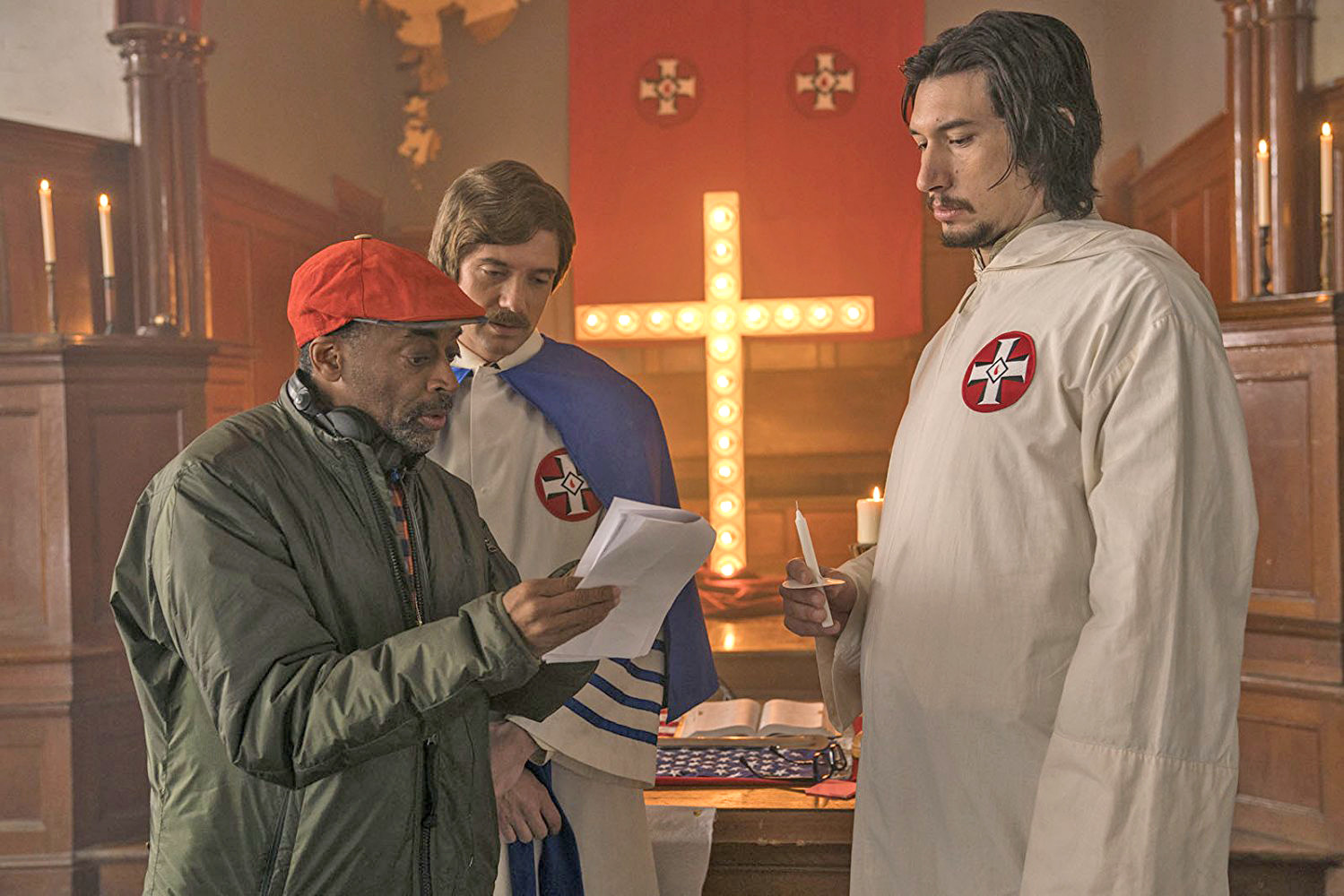 "Spike Lee directs Topher Grace and Adam Driver in a scene from ""BlackKlansman."""