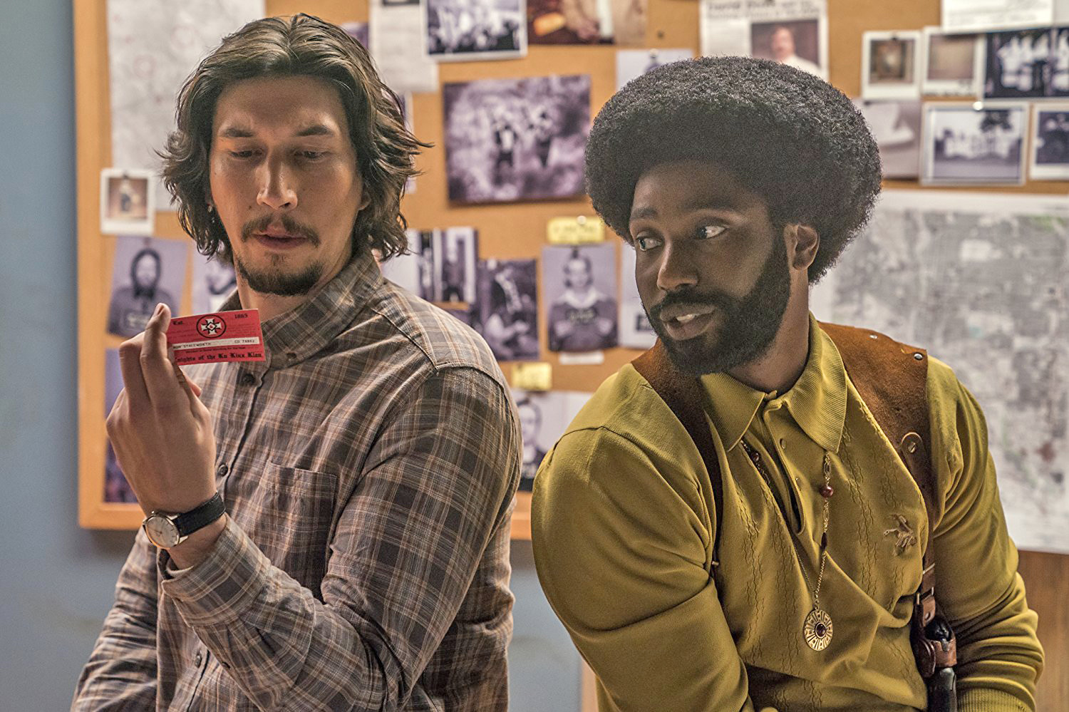 "Adam Driver and John David Washington play in-person and the phone-only versions of Ron Stallworth in ""BlackKlansman."""