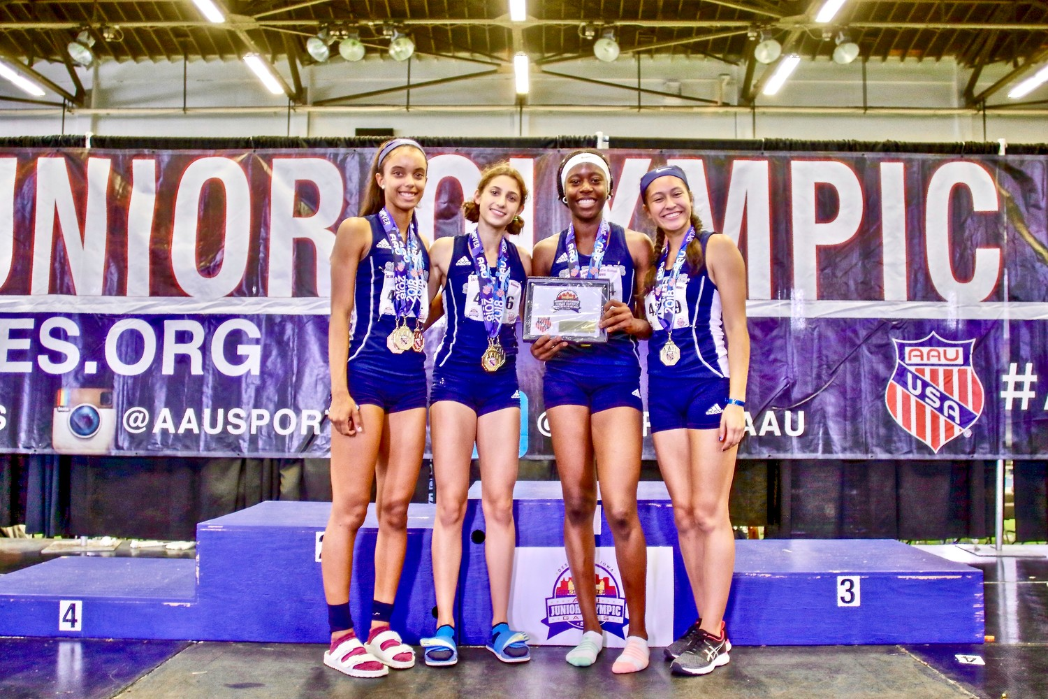 The Leander Spartans team of Hali Murphy, Elizabeth Roca, Victory Ifah and Autumn Wilson won the 4x400-meter relay at the AAU Junior Olympics on Aug. 4 at Drake University in Des Moines, Iowa.