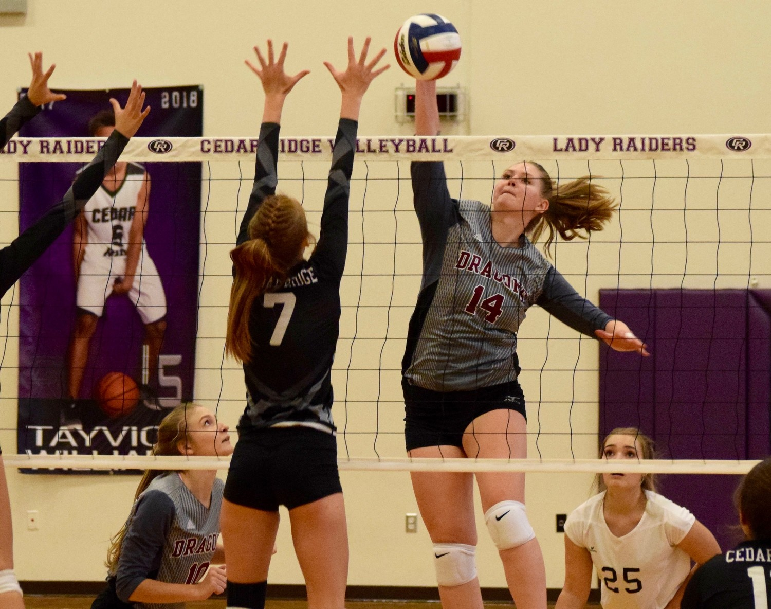 Yasmina Kadich and Round Rock beat Cedar Ridge 3-0 (25-22, 25-23, 25-23) in the first game of district 13-6A play on Tuesday night.