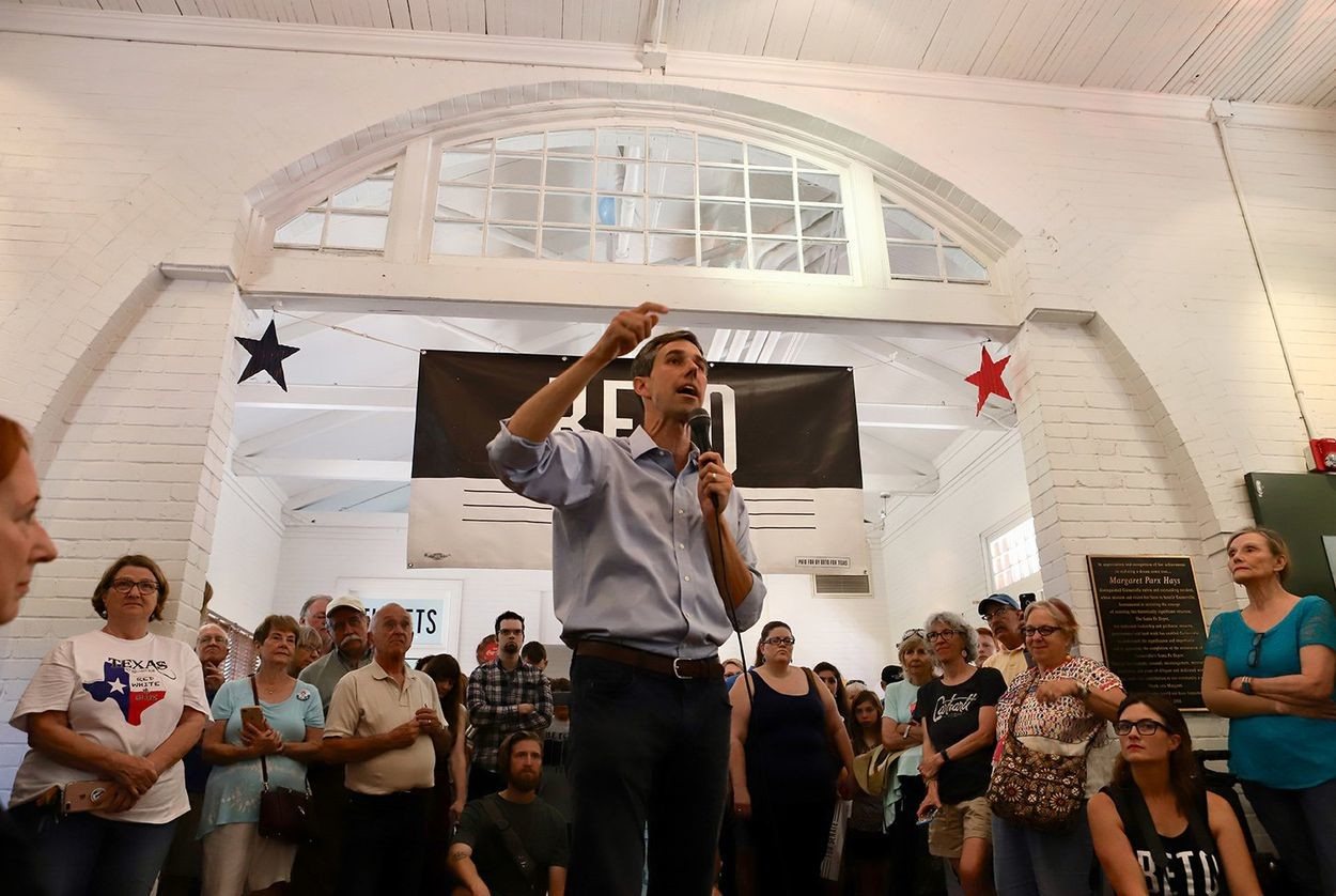 U.S. Rep. Beto O'Rourke, D-El Paso, speaks to his Gainesville supporters at the Historic Santa Fe Train Depot in Cooke County on June 9, 2018.