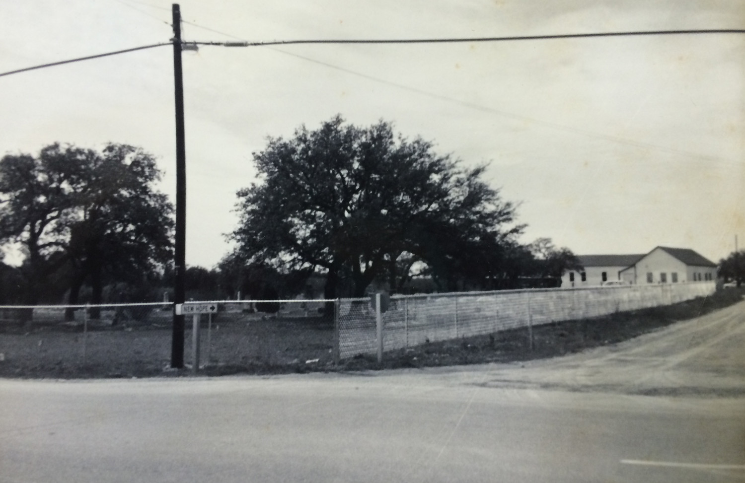 New Hope Church, at the corner of New Hope Drive and U.S. 183, in the 1950s.