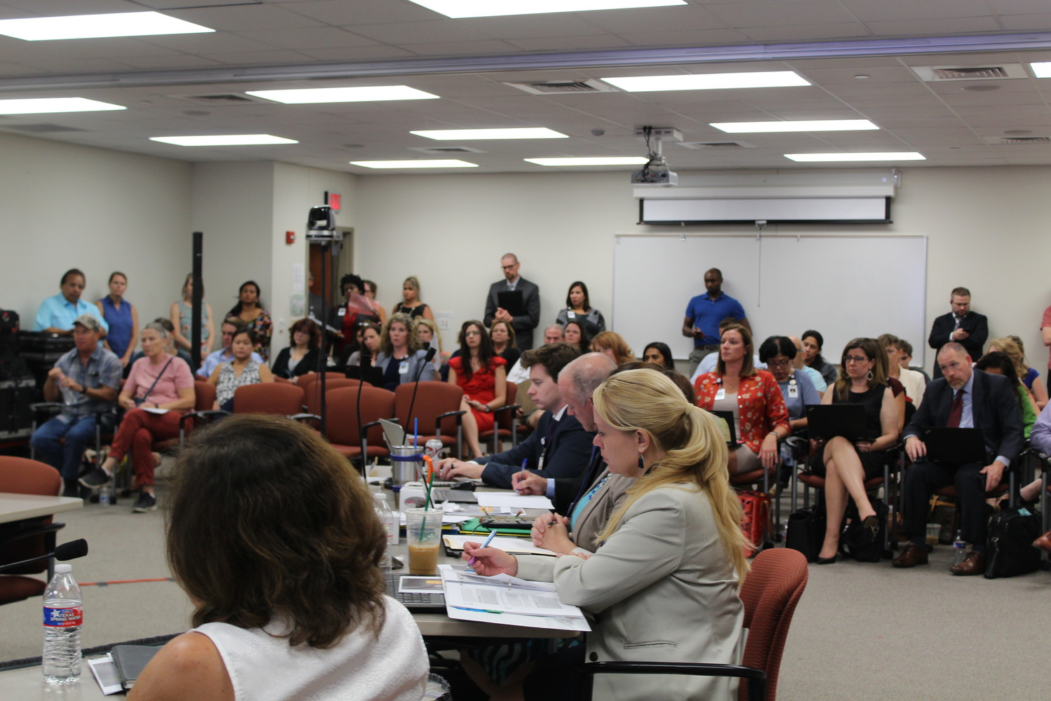 A crowd of LISD parents concerned about hot buses filled the meeting room at the Leander ISD Support Services building for the Aug. 23 school board meeting.