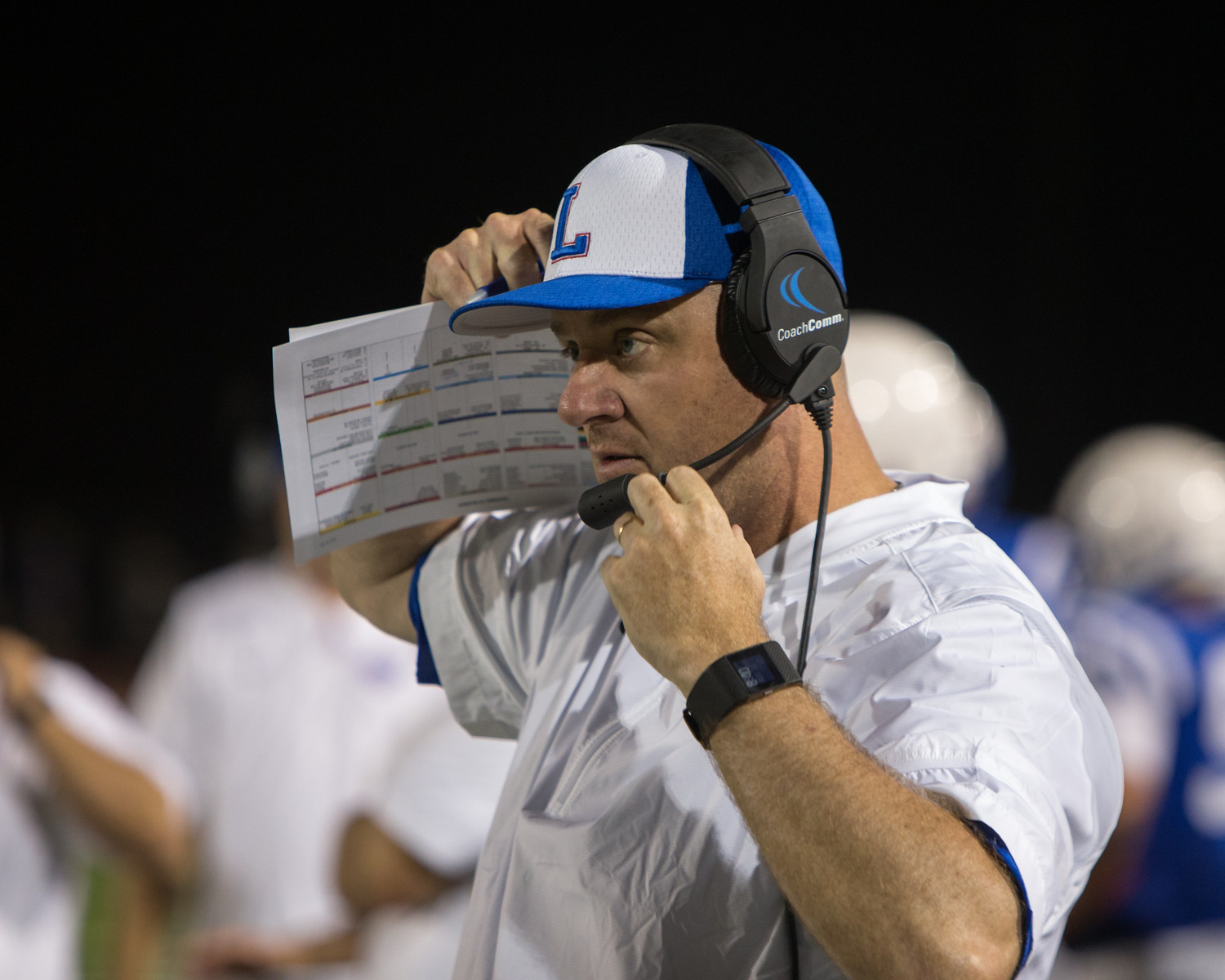 Leander Lions head coach Tim Smith during a high school football game between the Leander Lions and the Ellison Eagles at Bible Stadium in Leander, Texas, on Thursday, August 31, 2017.