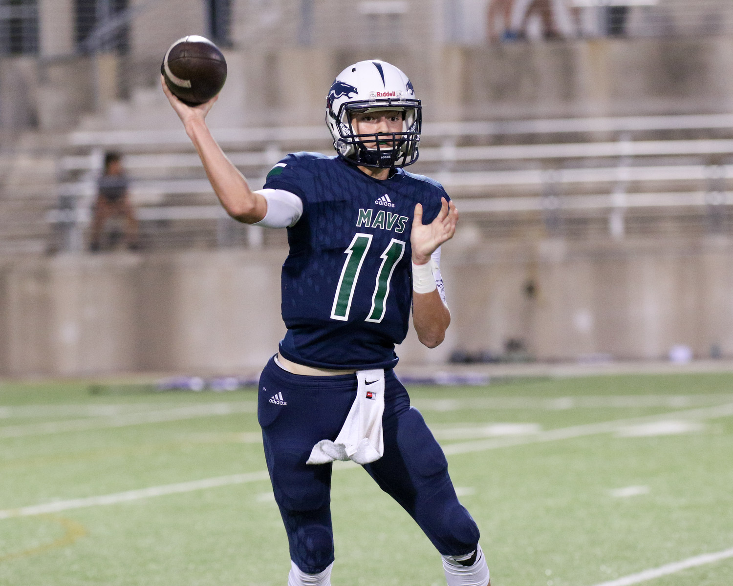 McNeil Mavericks junior quarterback Zane Kampfer (11) passes the ball during the high school football game between the McNeil Mavericks and the Cedar Ridge Raiders at the Kelly Reeves Athletic Compex in Round Rock, Texas, on October 6, 2017.