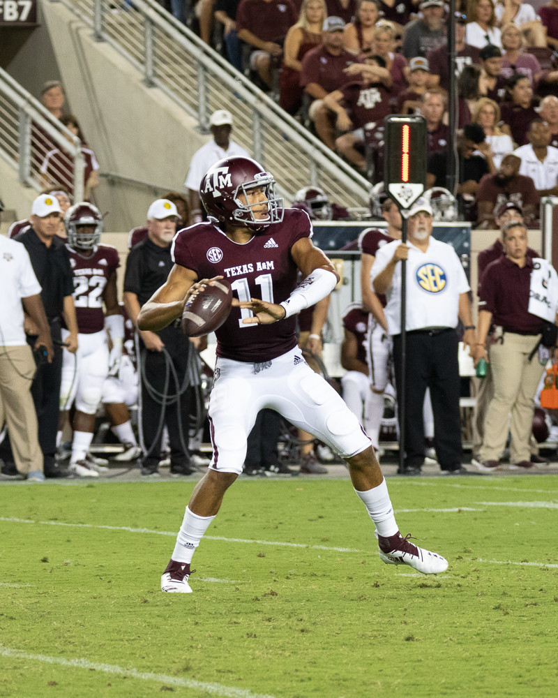 Texas A&M starting quarterback Kellen Mond threw for 184 yards a pair of touchdowns and rushed for another score as the Aggies racked up a total of 758 yards to bury the Northwestern State Demons 59-7 Thursday night at Kyle Field.