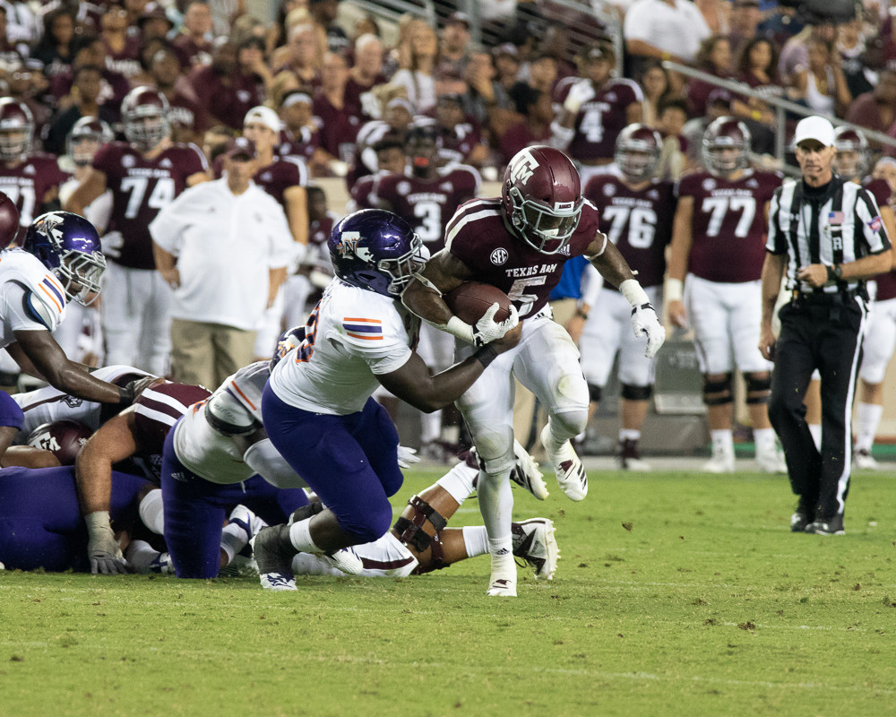 Trayveon Williams rushed for 240 yards, the second-most in Texas A&M history, as the Aggies racked up a total of 758 yards to bury the Northwestern State Demons 59-7 Thursday night at Kyle Field.