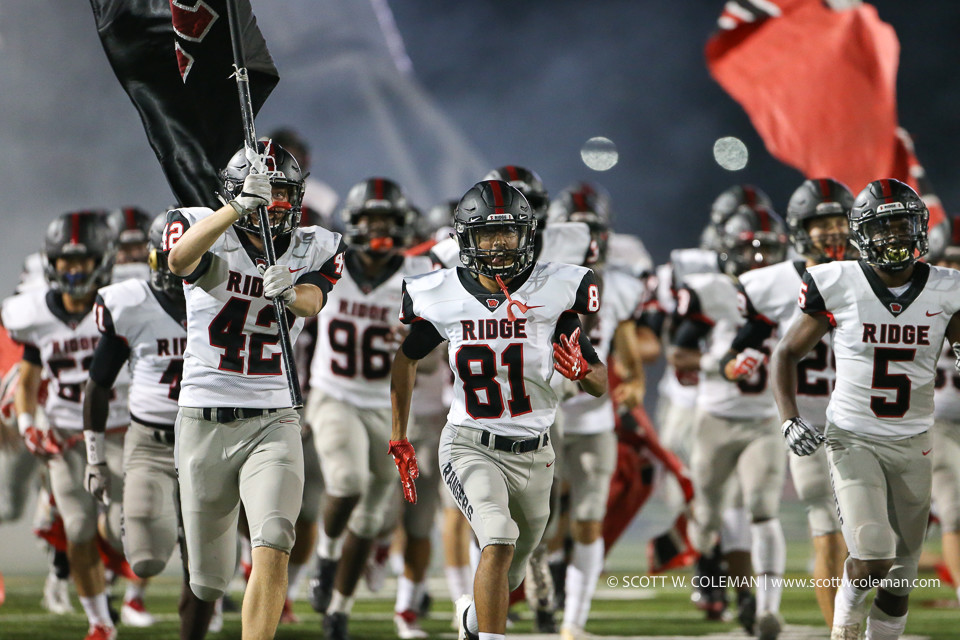 The Vista Ridge Rangers take the field to start the second half during a high school football game between the Rouse Raiders and the Vista Ridge Rangers on Friday, Aug. 31, 2018 in Leander, Texas.