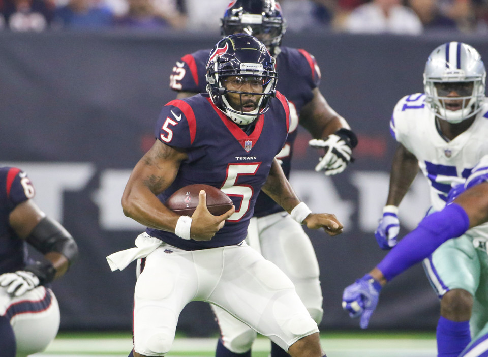 Houston Texans quarterback Joe Webb (5) carries the ball during the first half of an NFL preseason game between the Houston Texans and the Dallas Cowboys, Thursday, Aug. 30, 2018 in Houston, Texas.