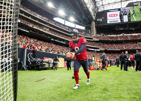 Houston Texans punter Shane Lechler (9) warms up during the second half of the NFL football game between the Houston Texans and the Jacksonville Jaguars at NRG Stadium in Houston, Texas. The Texans won 21-20.