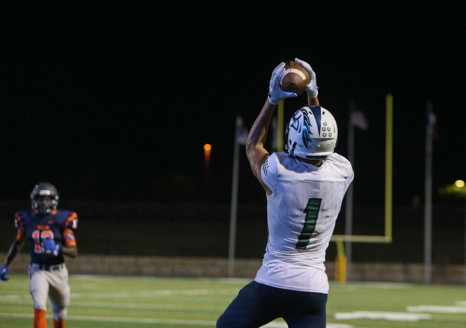 McNeil Mavericks senior Jordan Kerley (1) brings in a touchdown pass in the second quarter of a high school football game between Glenn and McNeil on Friday, Sept 7, 2018 in Cedar Park, Texas.