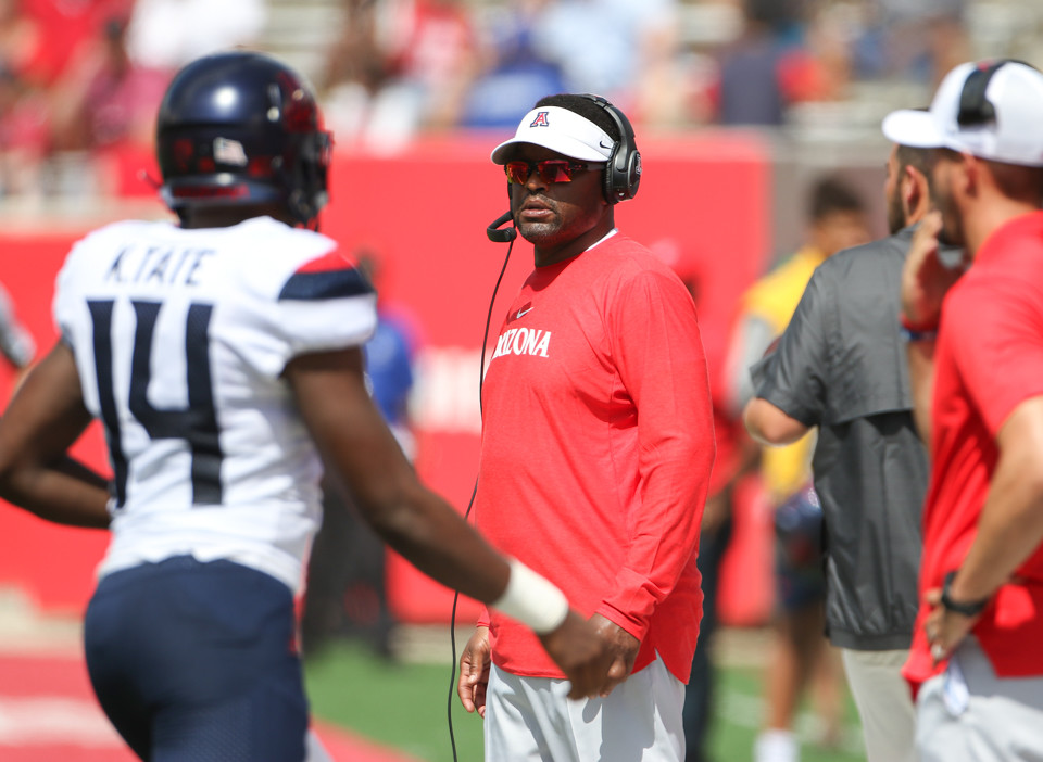 Arizona Wildcats head coach Kevin Sumlin during an NCAA football game between Houston and Arizona on Saturday, Sept 8, 2018 in Houston, Texas.