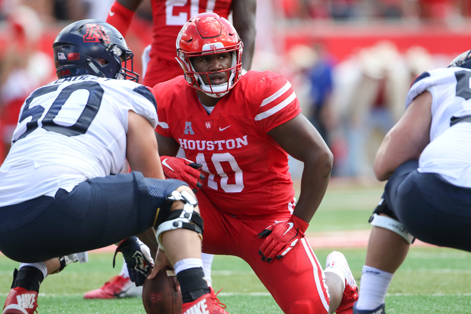 Houston Cougars defensive tackle Ed Oliver (10) during an NCAA football game between Houston and Arizona on Saturday, Sept 8, 2018 in Houston, Texas.
