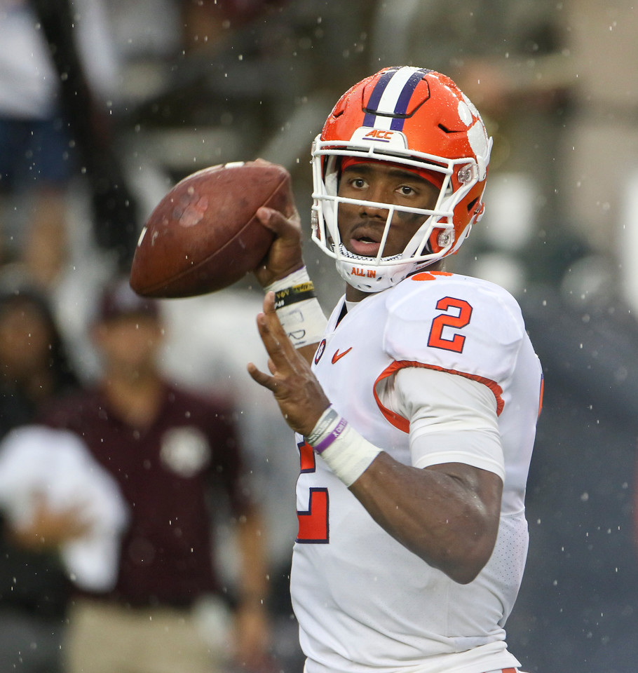 Clemson Tigers quarterback Kelly Bryant (2) looks to pass during an NCAA football game between Texas A&M and Clemson on Saturday, Sept 8, 2018 in College Station, Texas.