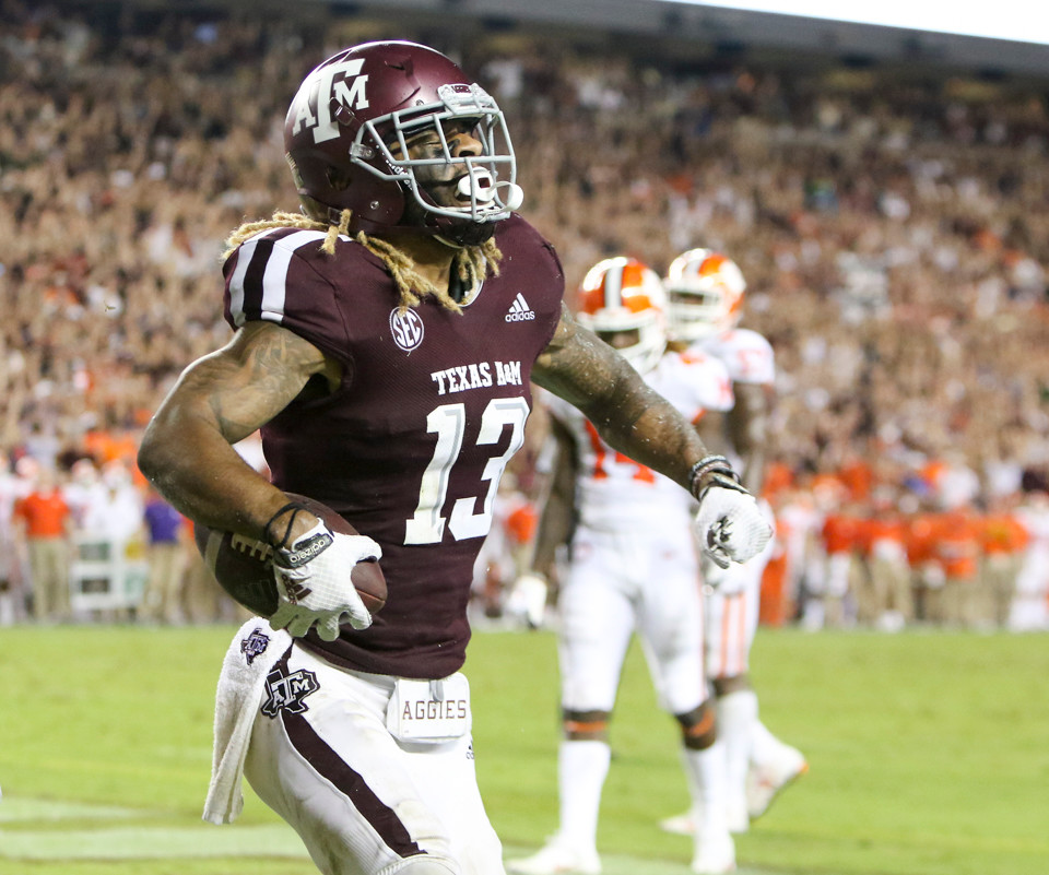 Texas A&M Aggies wide receiver Kendrick Rogers (13)  celebrates after a touchdown reception during an NCAA football game between Texas A&M and Clemson on Saturday, Sept 8, 2018 in College Station, Texas.