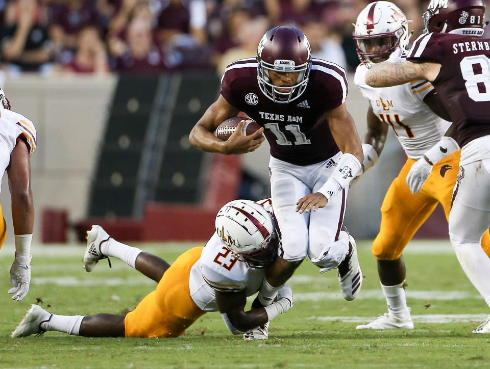 Texas A&M Aggies quarterback Kellen Mond (11) carries the ball during an NCAA football game between Texas A&M and ULM on Saturday, Sept. 15, 2018 in College Station, Texas.