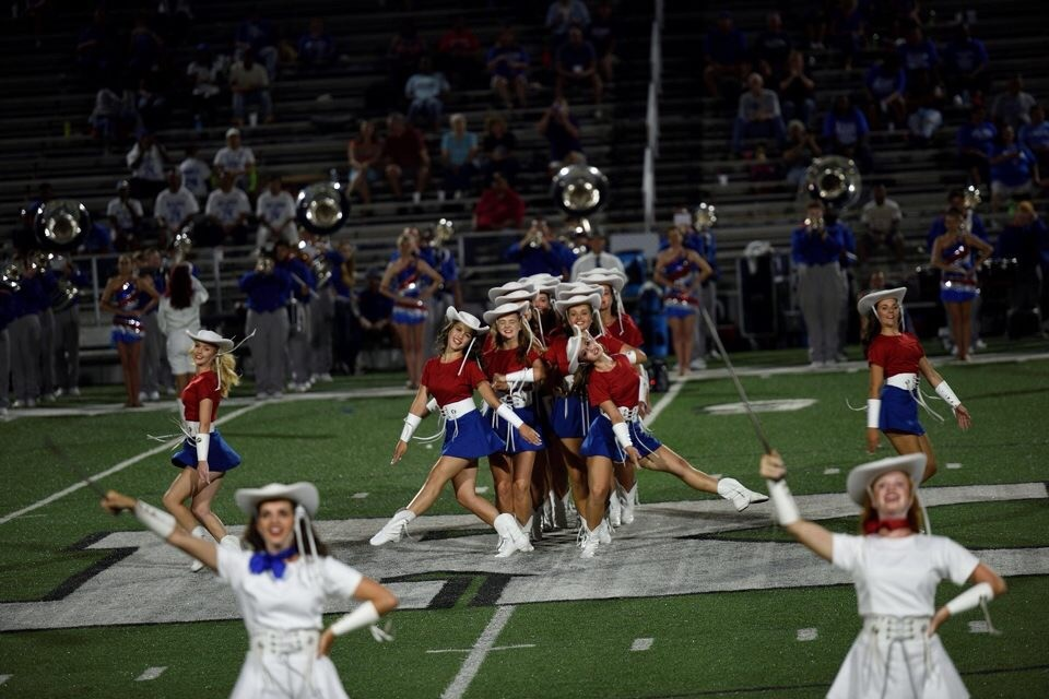 The Kilgore College Rangerettes perform at a home game at R.E. St. John Memorial Stadium in Kilgore.