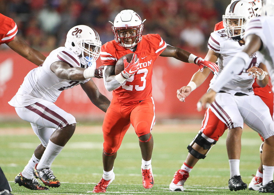 Houston Cougars running back Chandler Smith (23) carries the ball during the first half of an NCAA football game between the Houston Cougars and the Texas Southern Tigers on Saturday, Sept. 22, 2018 in Houston, Texas.