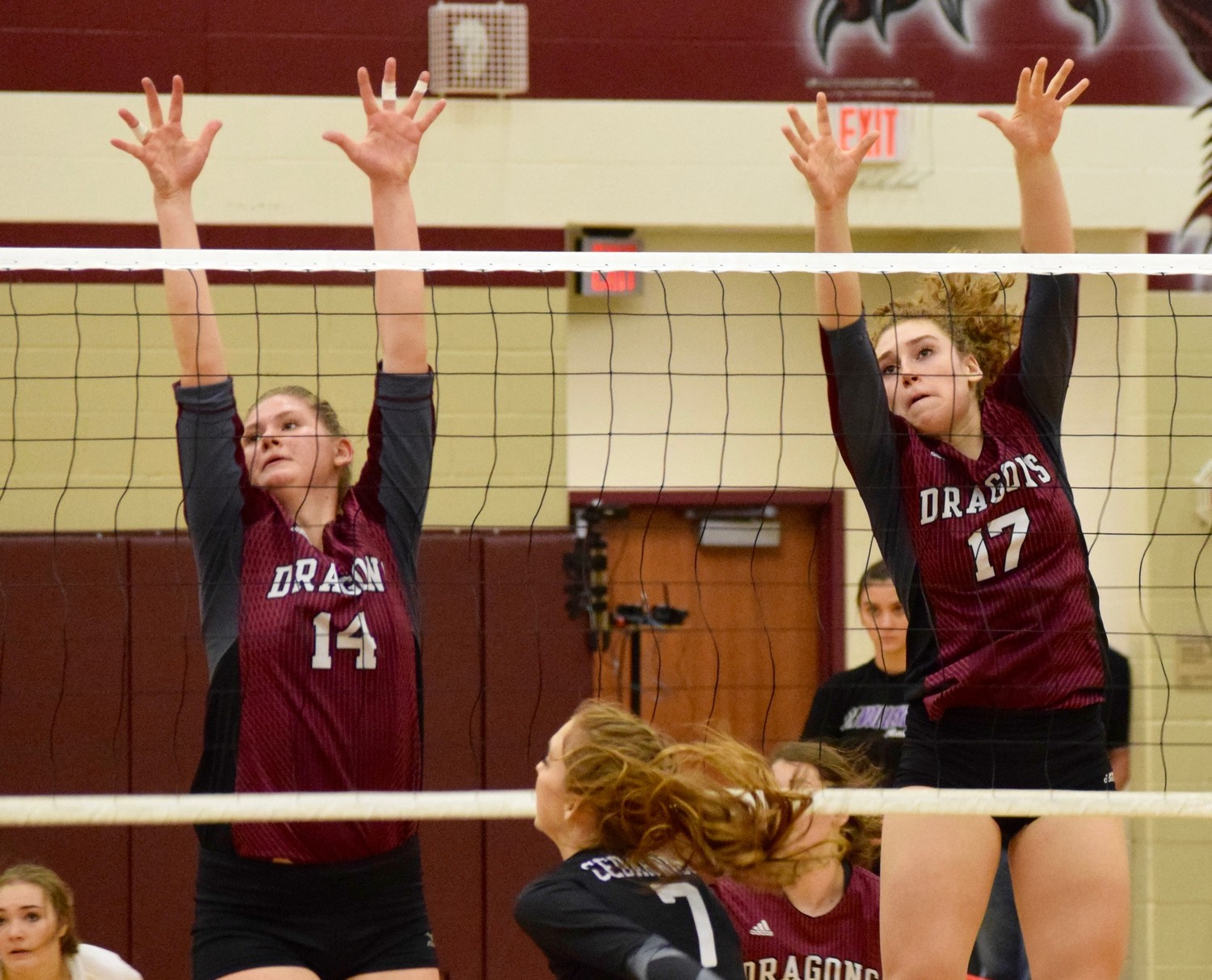 Yasmina Kadic, left, Lauren Malone and Round Rock swept Cedar Ridge 3-0 (25-18, 25-22, 25-23) at home Tuesday night.