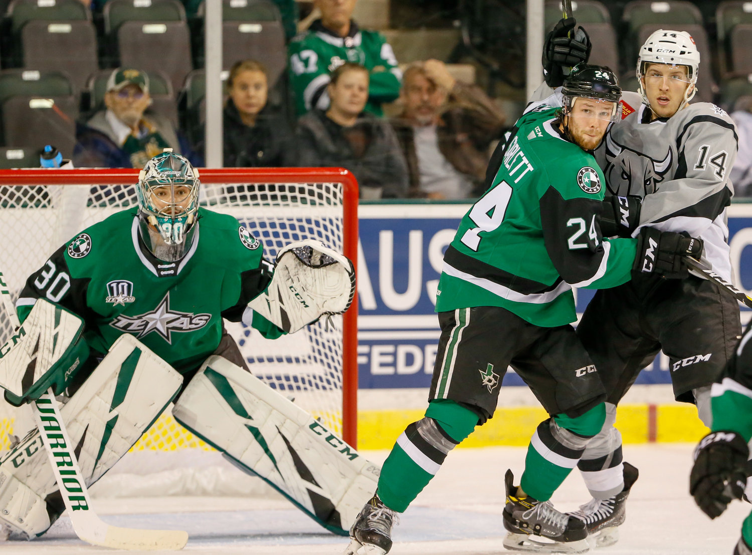 Reece Scarlett, right, returns to Texas this season after helping the Stars reach the Calder Cup finals for the third time in their nine-year history last season. They lost to the Toronto Marlies in seven games.