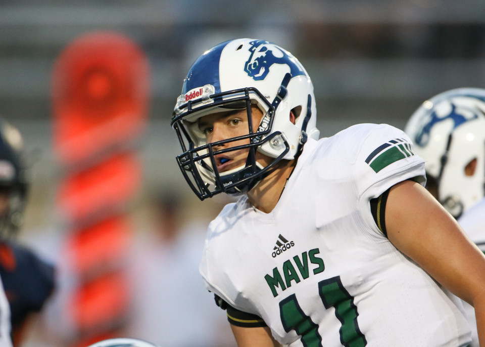 McNeil Mavericks senior quarterback Zane Kampfer (11) looks to the sideline before the snap during a high school football game between Glenn and McNeil on Friday, Sept 7, 2018 in Cedar Park, Texas.