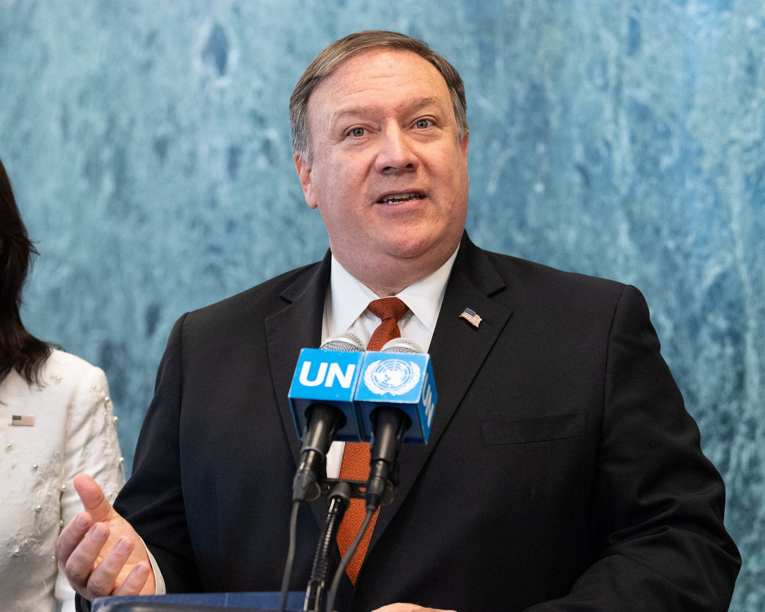 U.S. Secretary of State Mike Pompeo at a news conference at the United Nations in New York on July 20, 2018.
