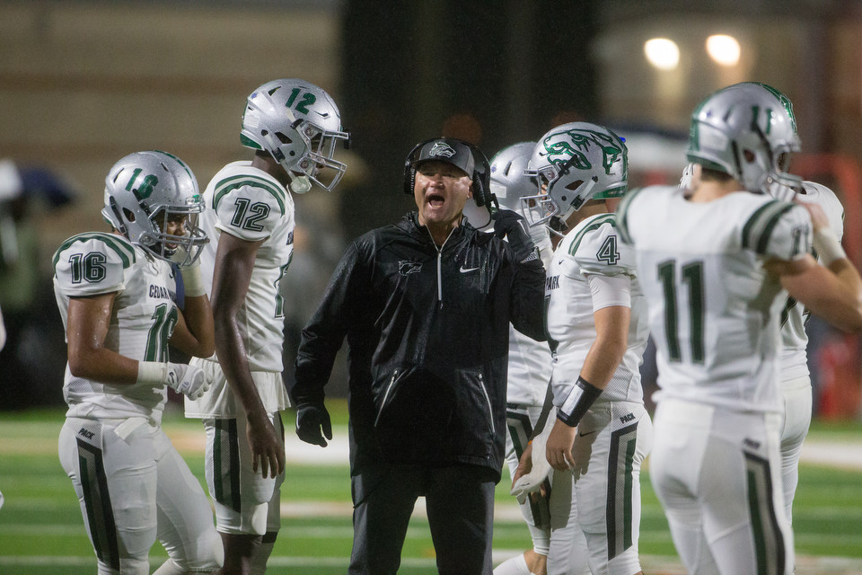Cedar Park Timberwolves head coach Carl Abseck during a high school football game between Hutto and Cedar Park on Friday, Oct. 19, 2018 at Hippo Stadium in Hutto, Texas.