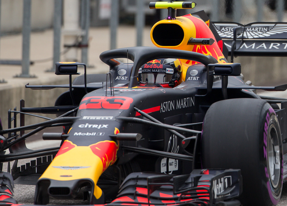 Aston Martin Red Bull Racing driver Max Verstappen (33) of Netherlands exits pit row during the third practice session at the Circuit of the Americas in Austin, Texas on Saturday, Oct. 20, 2018.