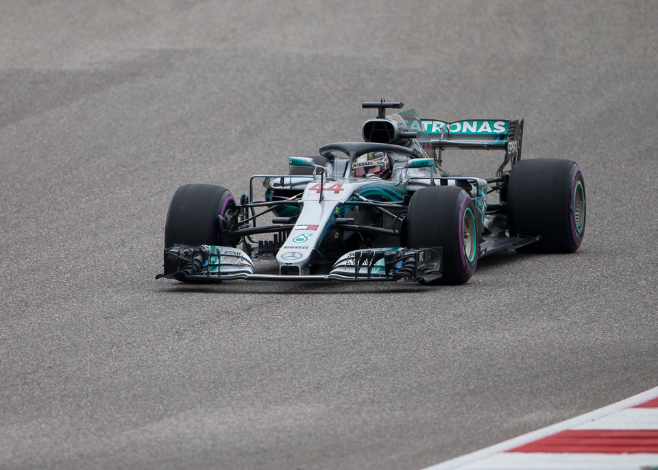 Mercedes AMG Petronas driver Lewis Hamilton (44) of Great Britain prepares to make Turn 2 during the third practice session at the Circuit of the Americas in Austin, Texas on Saturday, Oct. 20, 2018.
