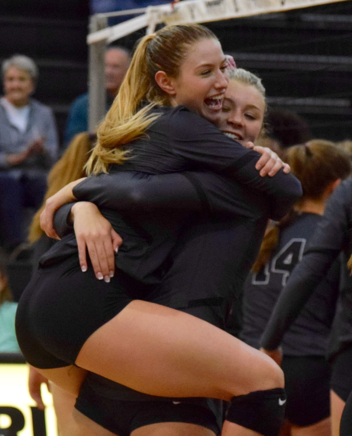 Delaney Dilfer, left, Annie Stadthaus and Vandegrift swept Hendrickson 3-0 on Tuesday night to clinch the District 13-6A title.