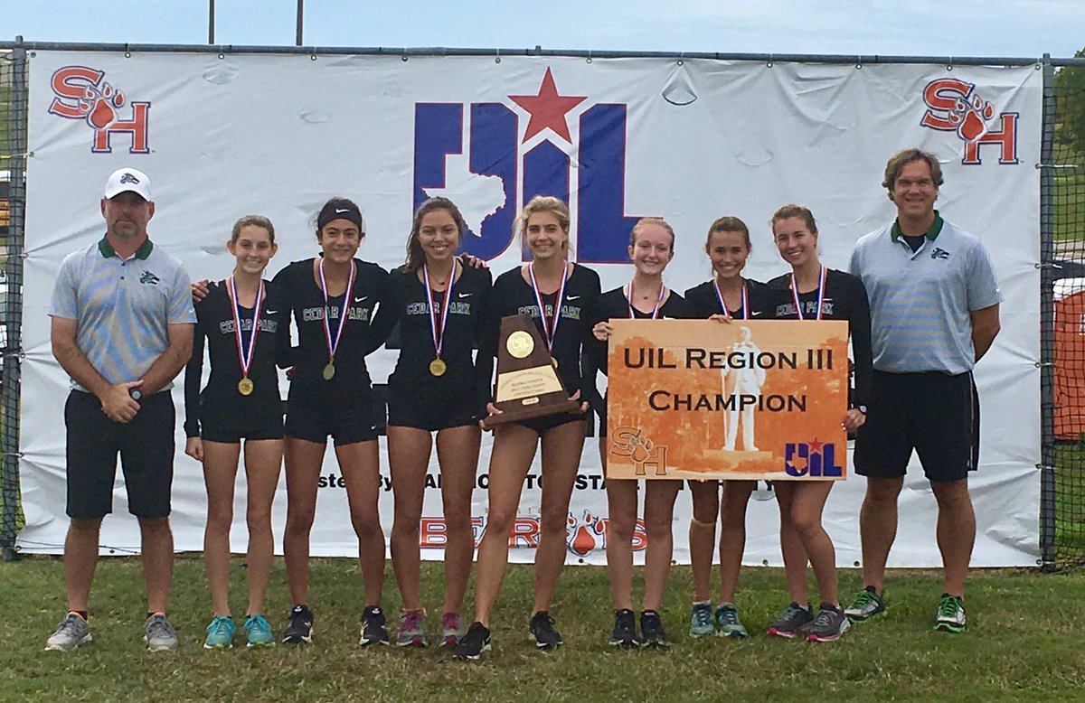 The Cedar Park girls' cross country team won the team competition and qualified for the state meet Monday morning in Huntsville.