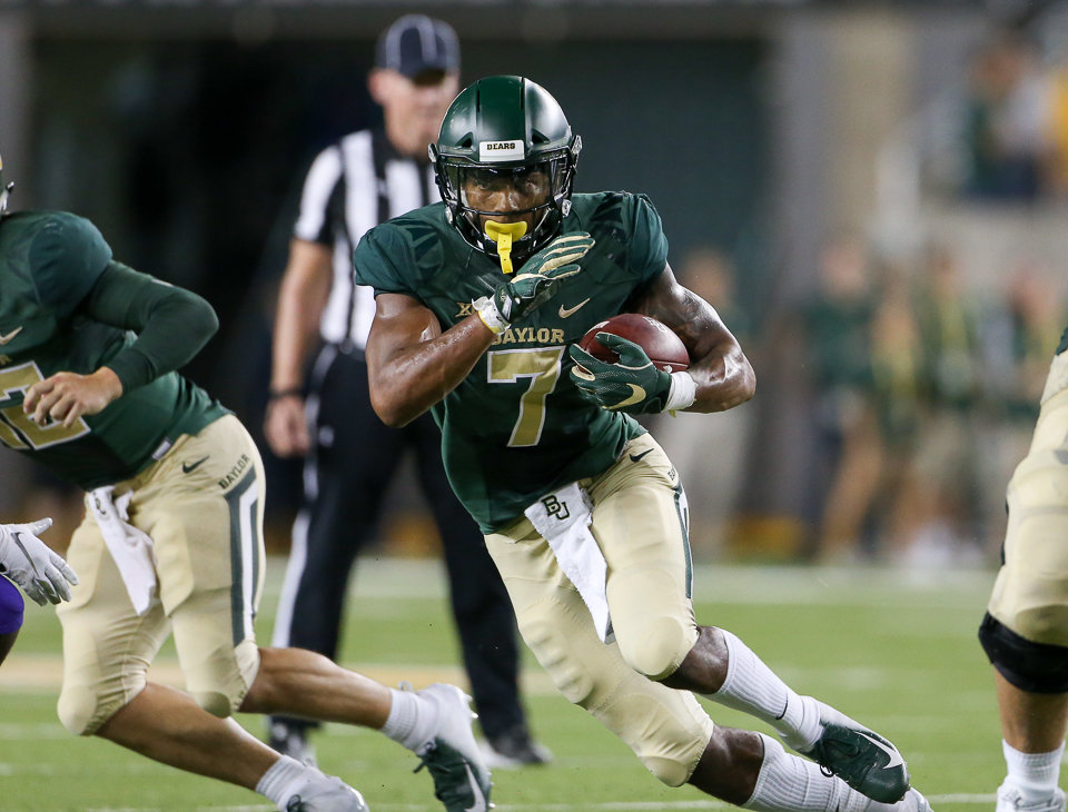Baylor Bears running back John Lovett (7) carries the ball during an NCAA football game between Baylor University and Abilene Christian University on Saturday, Sept 1, 2018 in Waco, Texas.