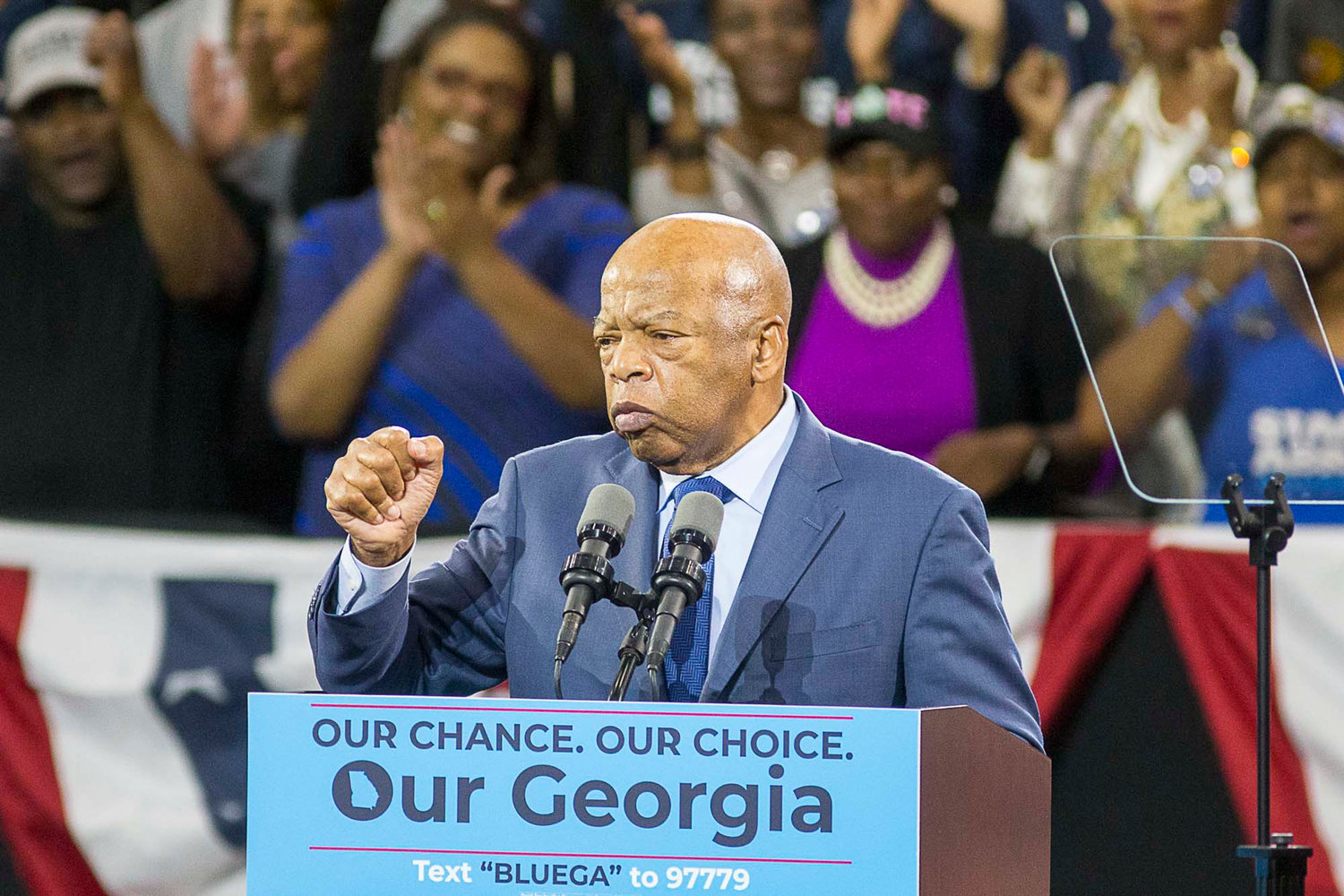 U.S. Rep. John Lewis speaks during a rally for gubernatorial candidate Stacey Abrams in Forbes Arena at Morehouse College in Macon, Ga., on Friday, Nov. 2, 2018. (Alyssa Pointer/Atlanta Journal-Constitution/TNS)
