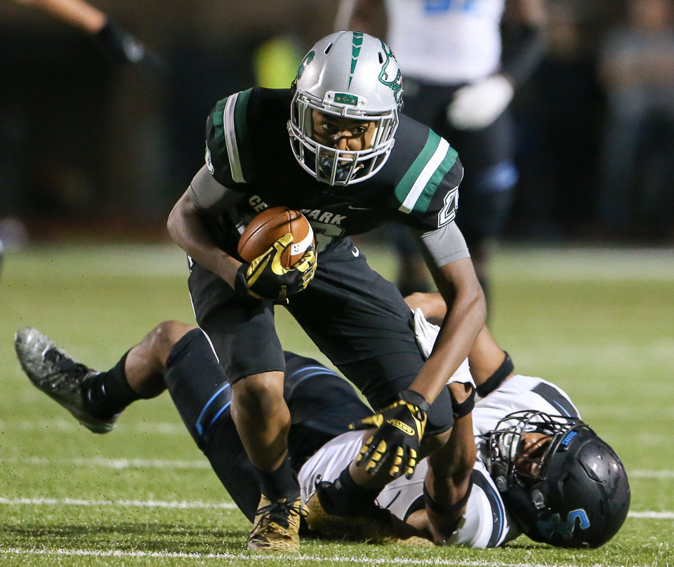 Cedar Park sophomore wide receiver Josh Cameron (26) carries the ball during a high school football playoff game between Cedar Park and Shadow Creek at Merrill Green Stadium on Friday, Nov. 23, 2018 in Bryan, TX.