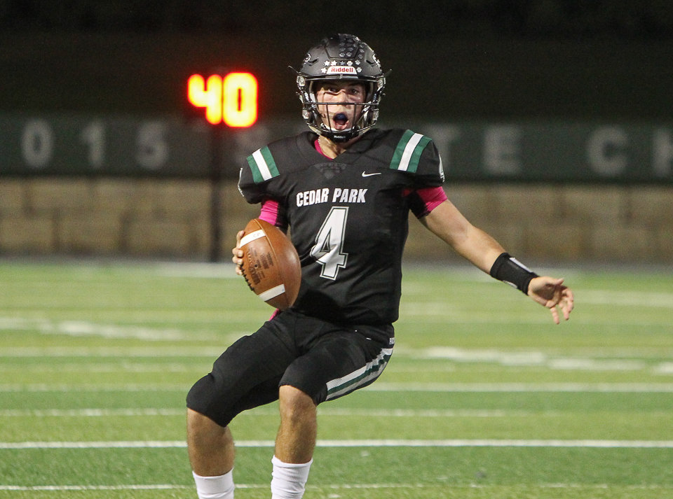 Cedar Park TImberwolves sophomore quarterback Ryder Hernandez (4) carries the ball just short of the goal line during the first half of a high school football game between Cedar Park and Georgetown on Friday, Oct. 12, 2018 in Cedar Park, Texas.