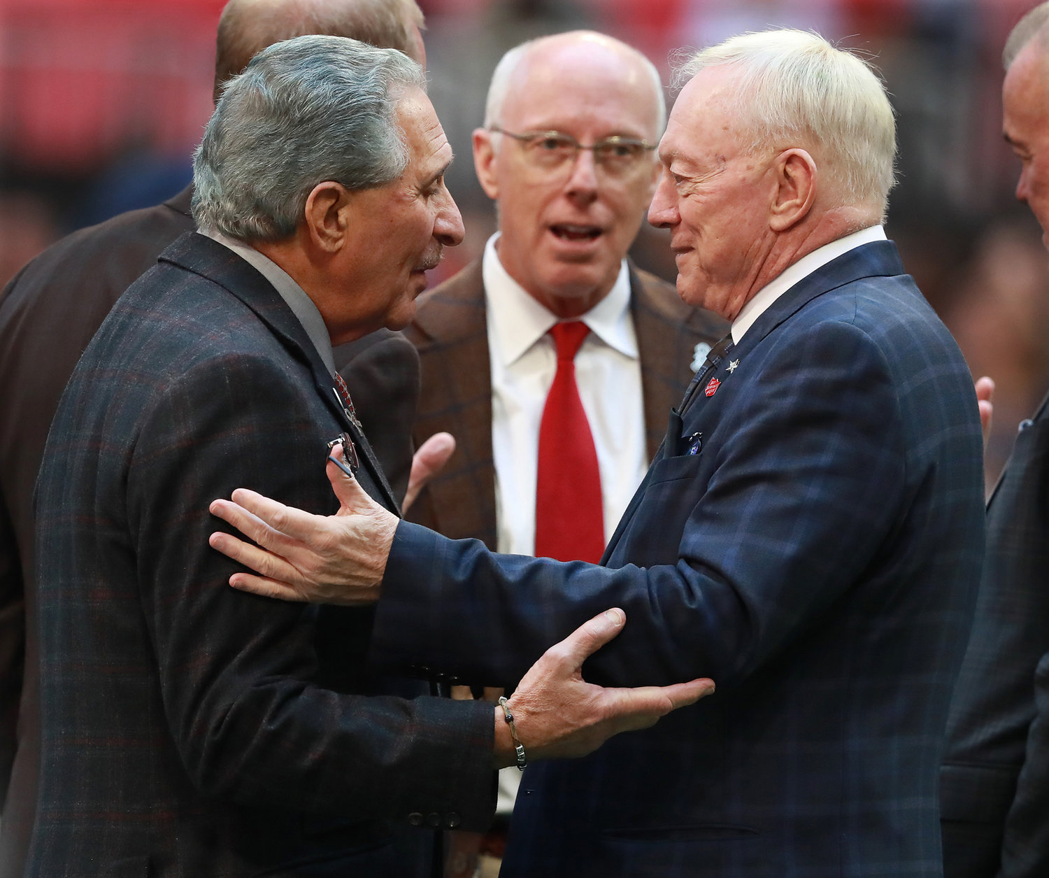 Atlanta Falcons owner Arthur Blank, left, and Dallas Cowboys owner Jerry Jones greet each other before a game on Nov. 18, 2018, at Mercedes Benz Stadium in Atlanta.