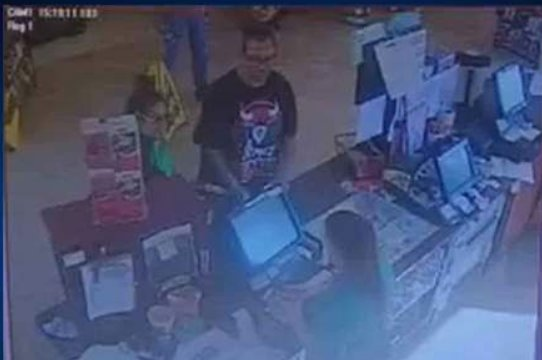 A pair of suspects is wanted in connection with a stolen credit card.
