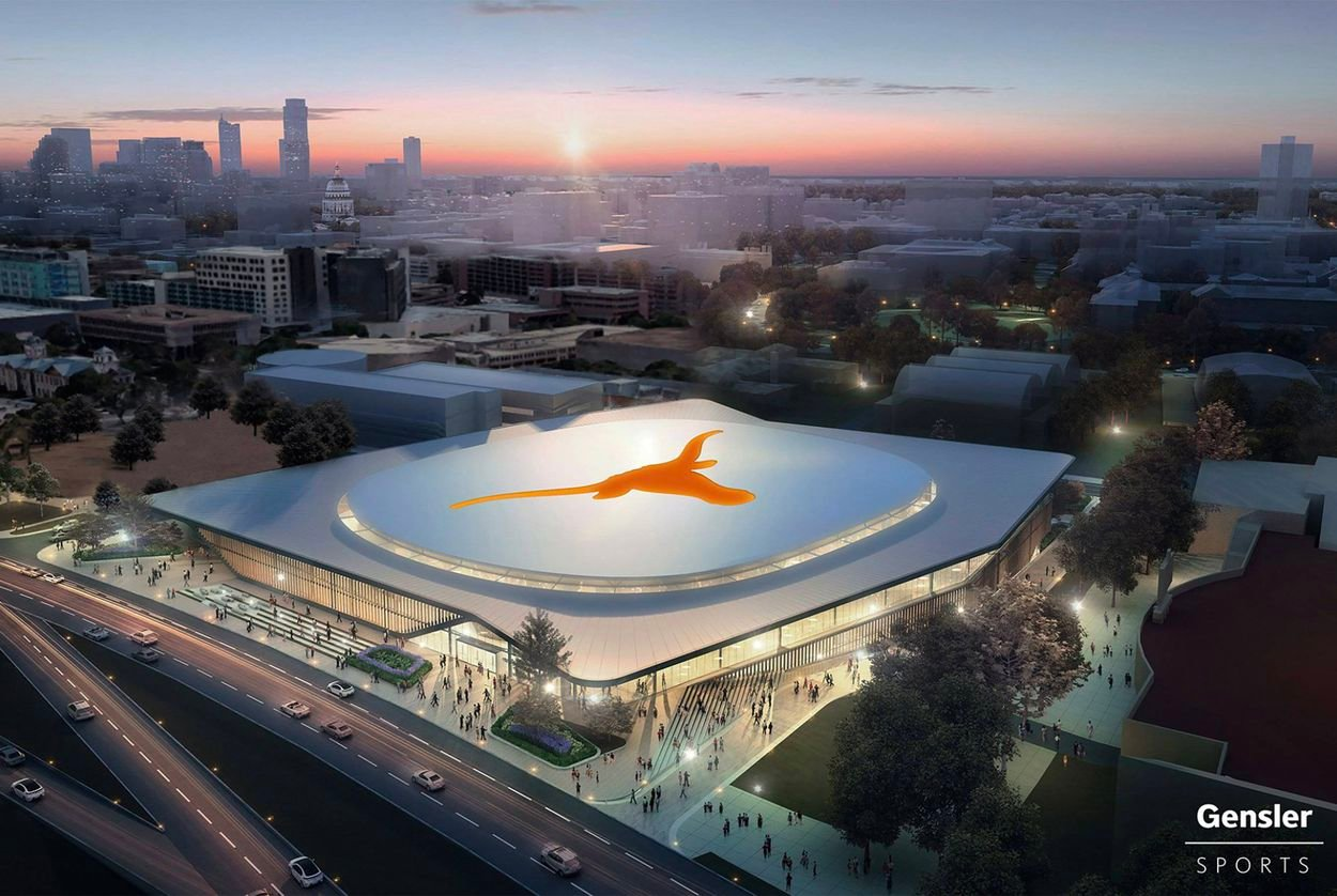 A tentative design of the $338 million on-campus basketball arena that was approved on Thursday by the University of Texas System's Board of Regents.