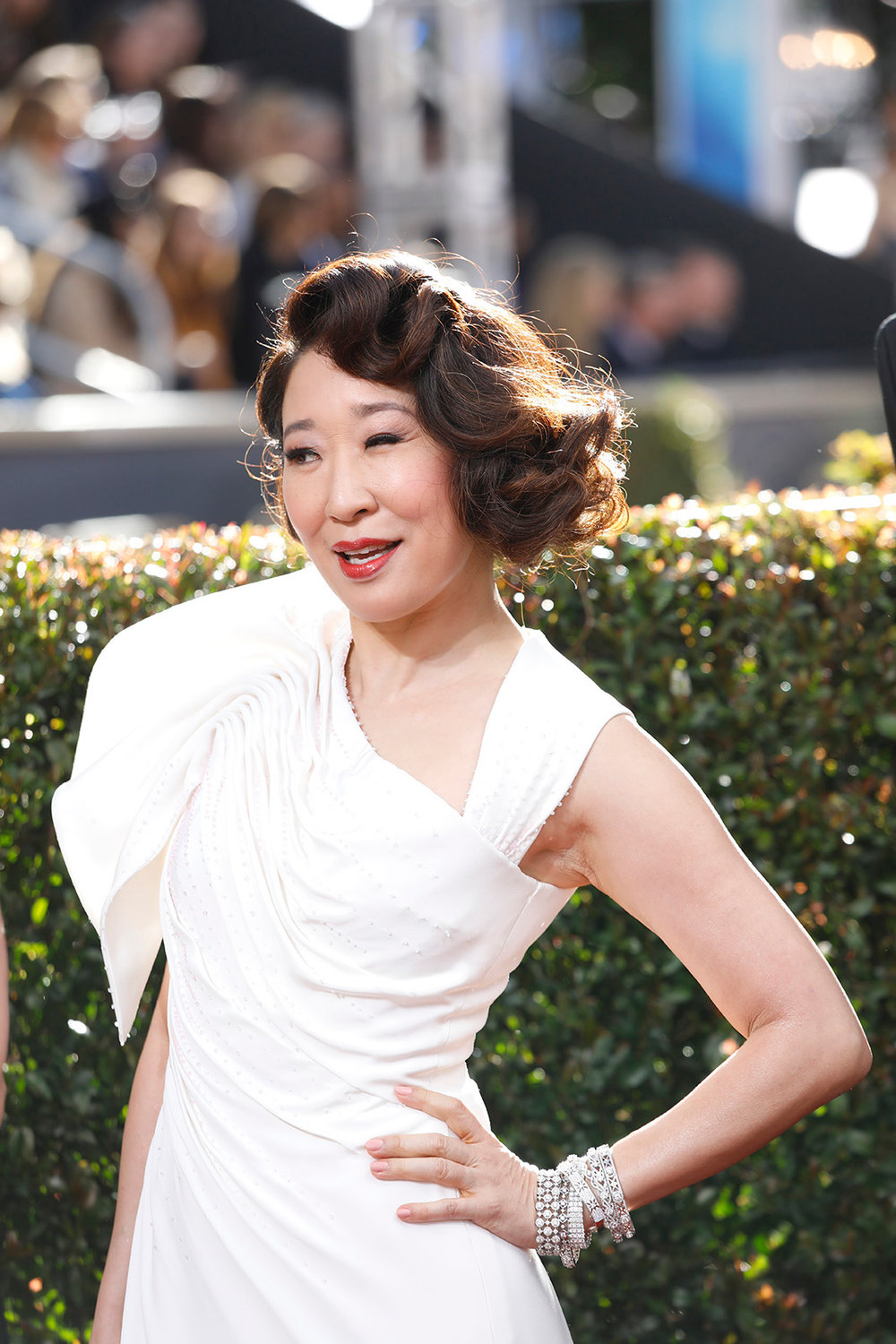 Sandra Oh arrives at the 76th Annual Golden Globes at the Beverly Hilton Hotel in Beverly Hills, Calif., on Sunday, Jan. 6, 2019. (Jay L. Clendenin/Los Angeles Times/TNS)