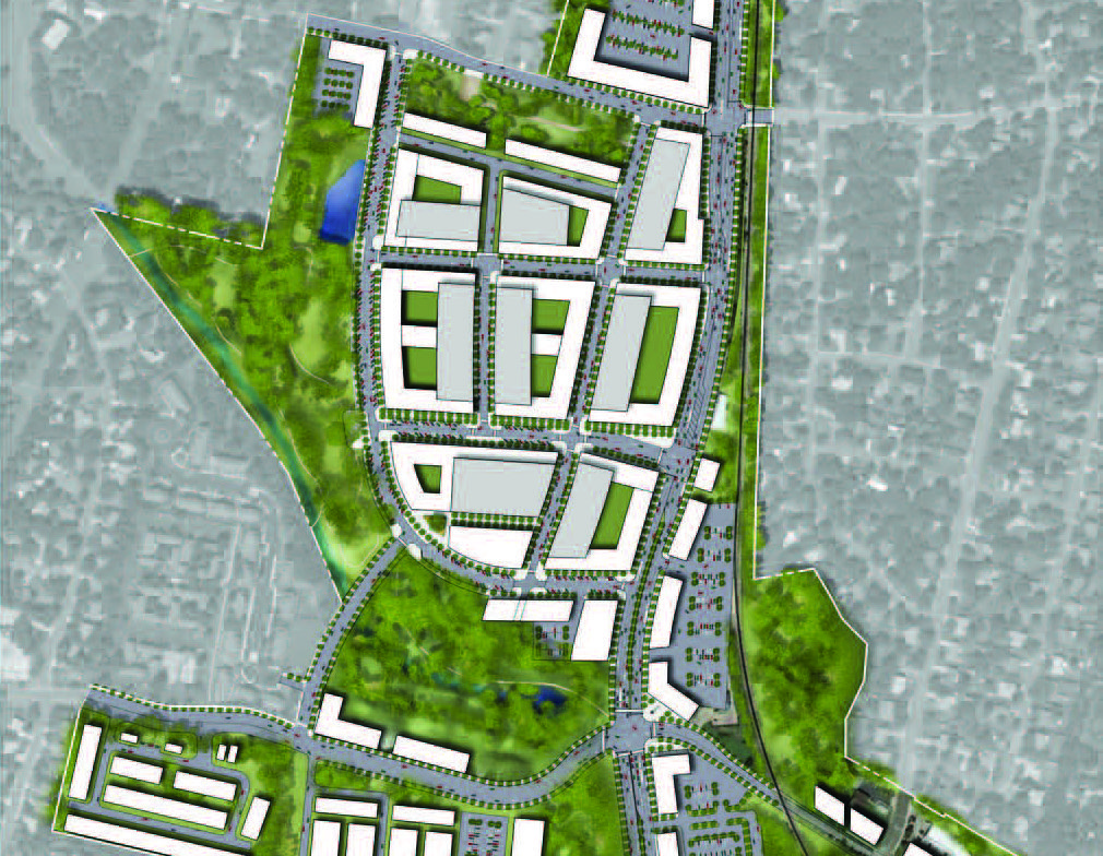 An overview of the planned Destination: Bell Boulevard area, including commercial and parkland developments.