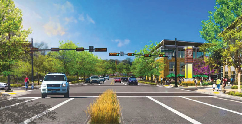 A rendering of one element of the revitalized section of Bell Boulevard, between Buttercup Creek Boulevard and Park Street.