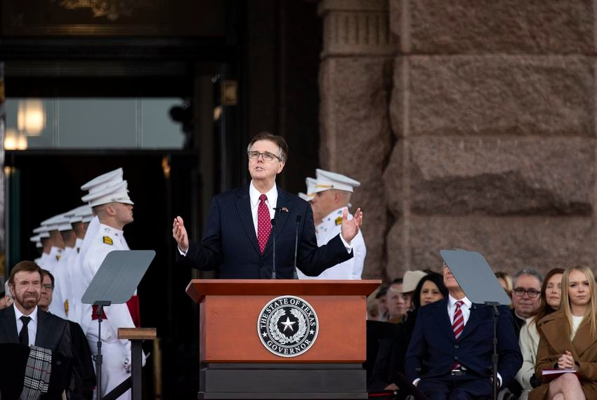 Lt. Gov. Dan Patrick addresses the crowd at the inauguration ceremony on the Capitol grounds on last week.