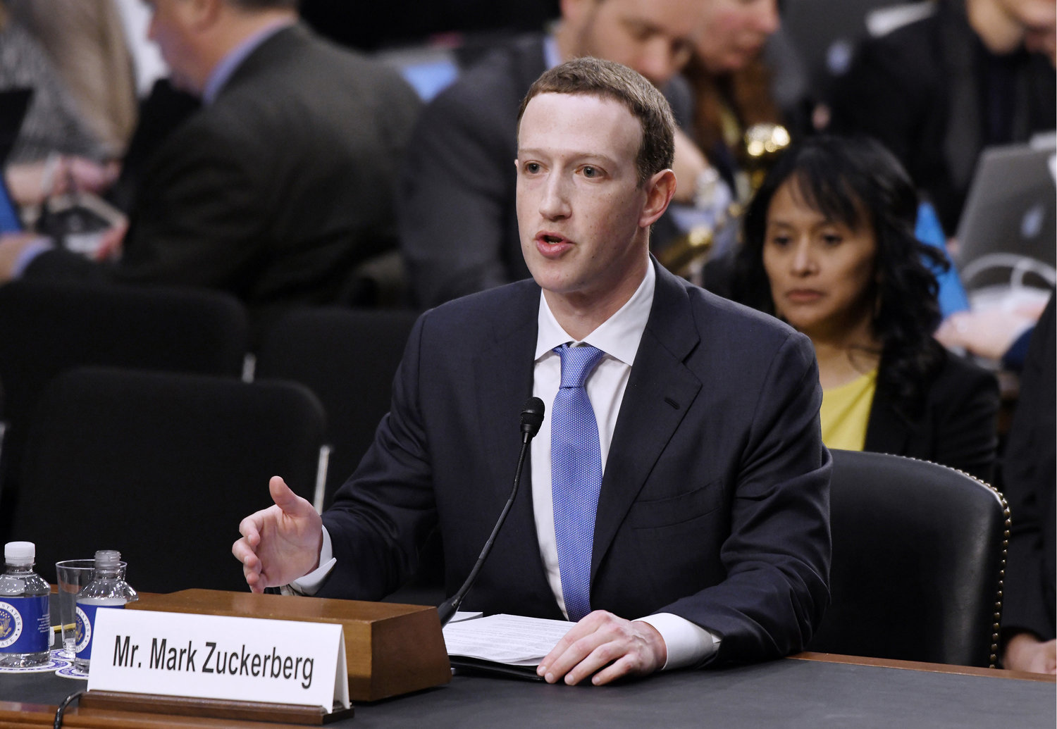 Facebook CEO Mark Zuckerberg testifies before the Senate judiciary and commerce committees on Capitol Hill on April 10, 2018, in Washington, D.C.