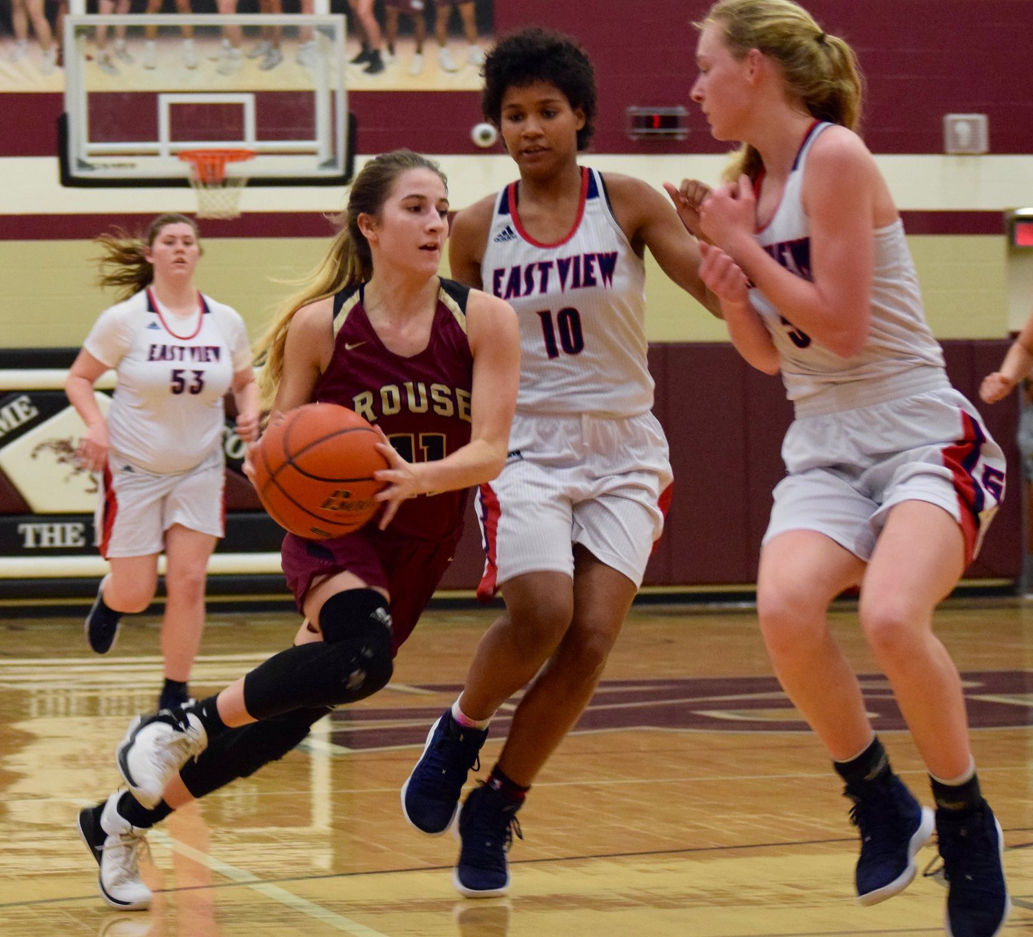 Madyson Shelley and Rouse lost to East View 35-30 in the first round of the playoffs Monday night at Round Rock High School.