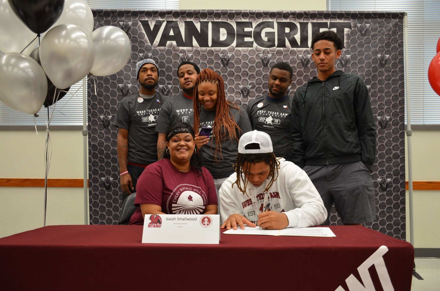 Vandegrift senior running back Isiah Smallwood signed to play football at West Texas A&M last Wednesday morning.