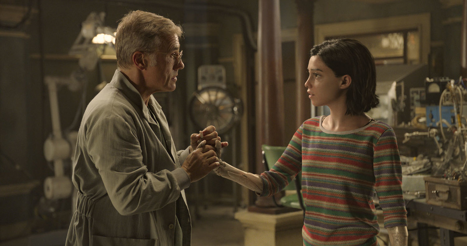 "Christoph Waltz and Rosa Salazar in ""Alita: Batle Angel."""