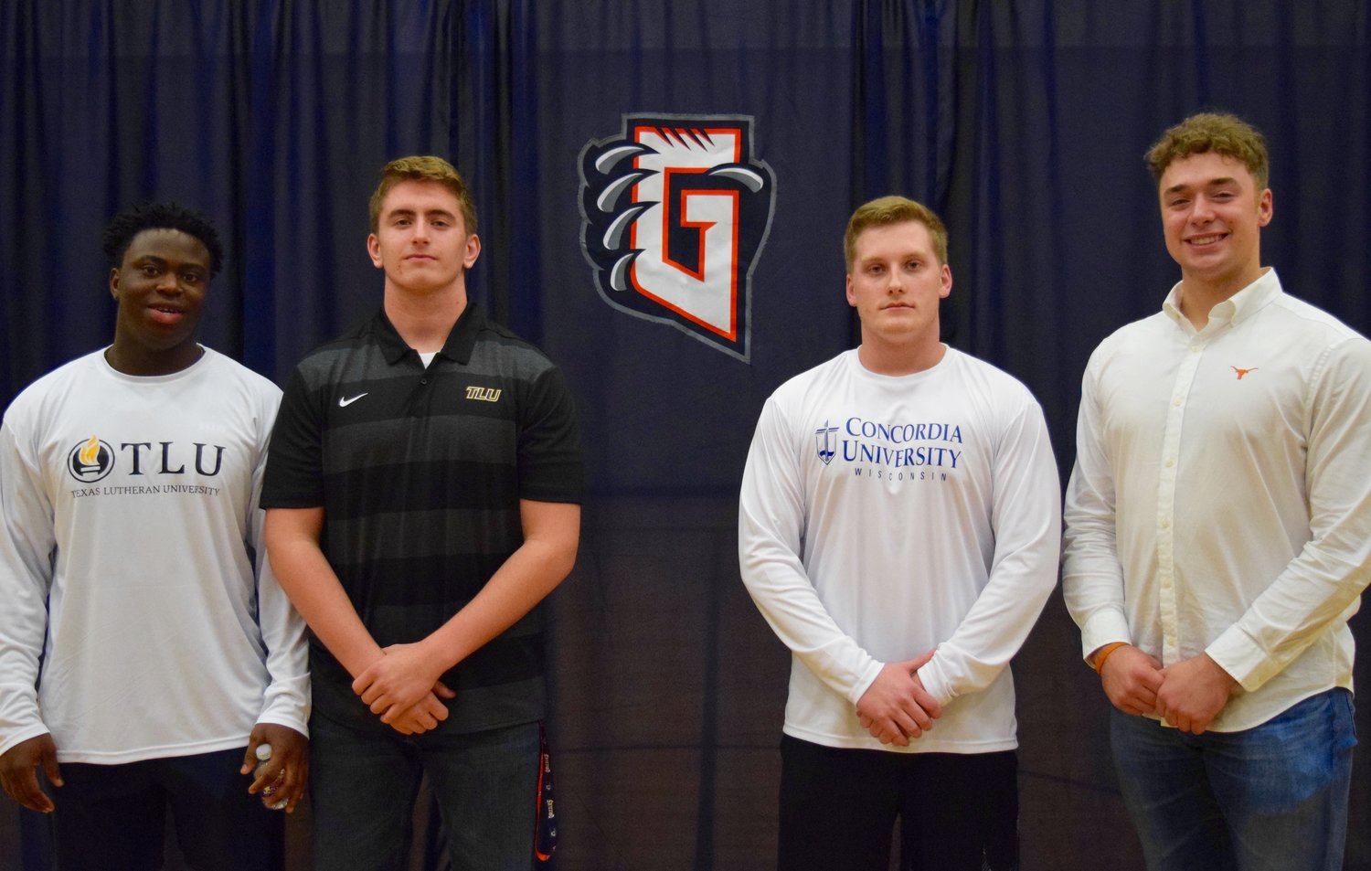Four Glenn football players signed to continue their careers in college last week. From left: Jeff Diaku (Texas Lutheran), Jacob Trim (Texas Lutheran), Matthew Hester (Concordia Wisconsin), Nate Hatter (Texas)