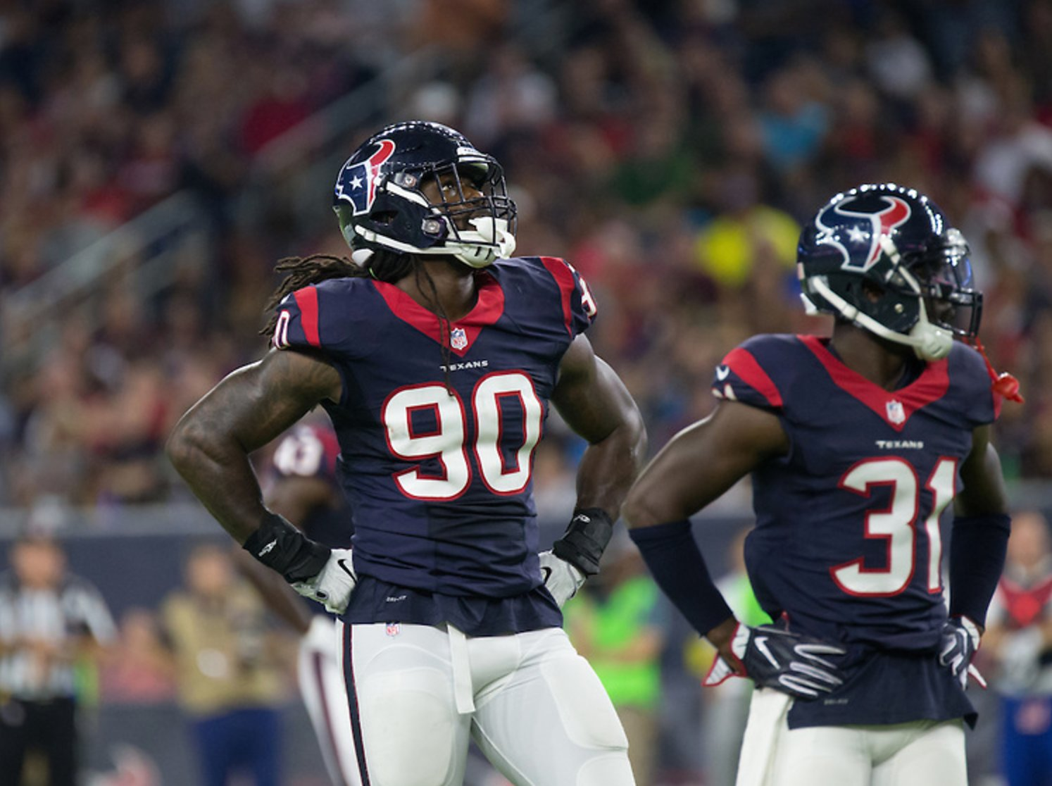 Texas linebacker Jadeveon Clowney was given the non-exclusive franchise tag by the Texans on Monday, meaning Houston would get tow first round picks if the former first-round pick signed elsewhere.