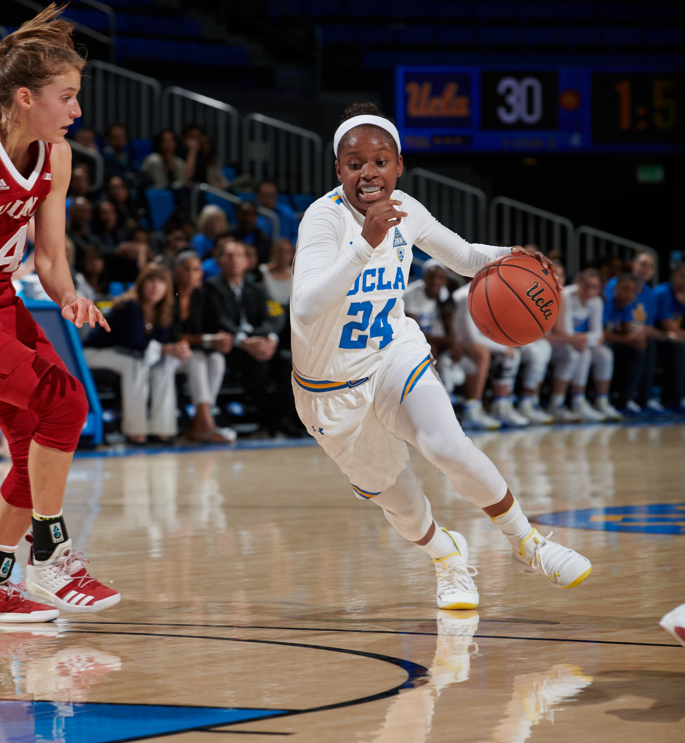 Japreece Dean missed the first nine games last year due to NCAA transfer rules and came off the bench in all but one of the final 26 games. This year, she's started 31 of 32 games and leads UCLA in 3-pointers, assists and minutes played.