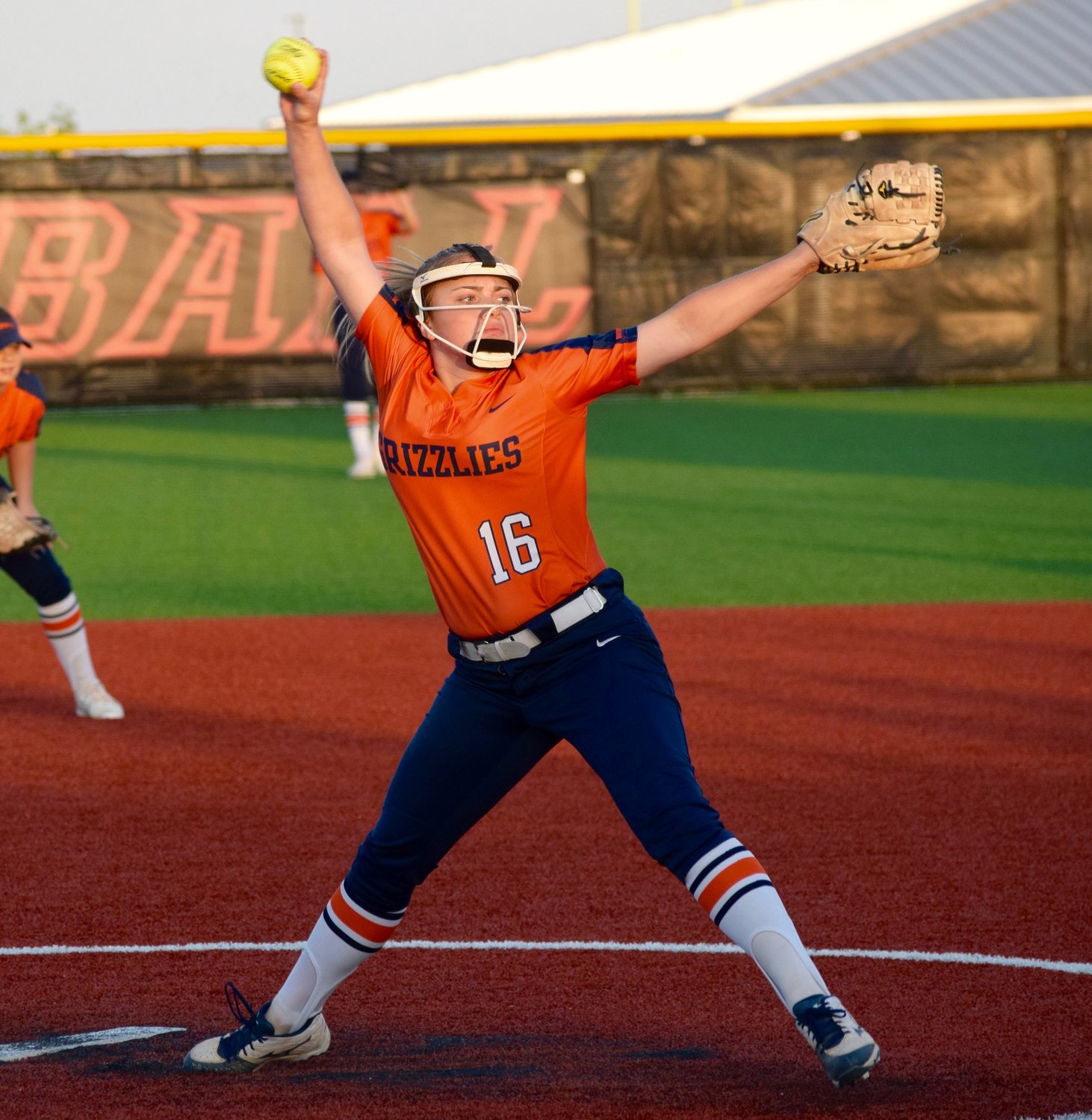 Freshman pitcher Rileigh Harris had 10 strikeouts to help Glenn beat Weiss 5-0 last Tuesday night. In their first year in Class 5A, the Grizzlies are in a position to make the playoffs for the second straight year.